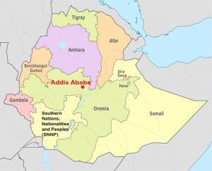 addis ababa ethiopia map